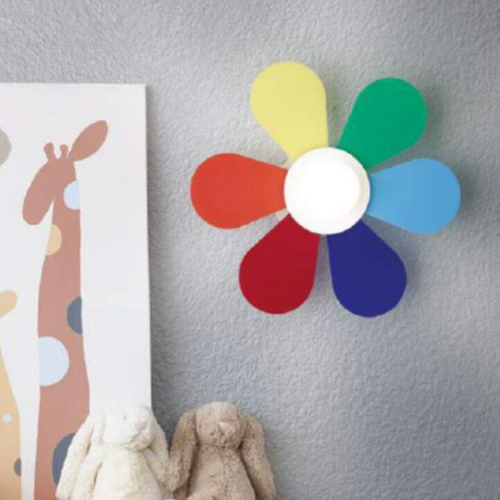 Applique Flower parete in metallo e petali in acrilico colorato con luce centrale - da 50cm o 30cm