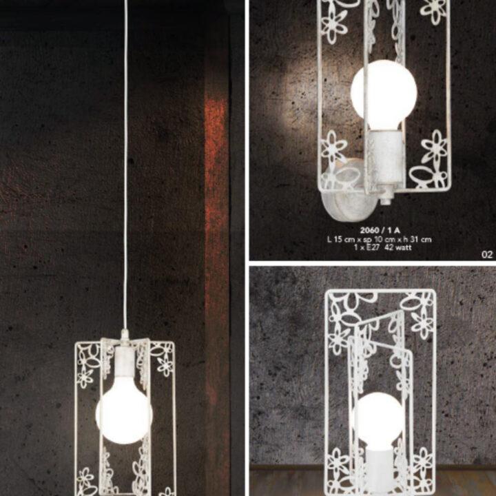 Sospensione 2060 in metallo verniciato bianco - anche versione applique e lumetto