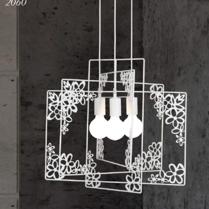 Sospensione 2060 in metallo verniciato bianco in 3 varianti- bianco opaco-tundra-savana - 3 luci