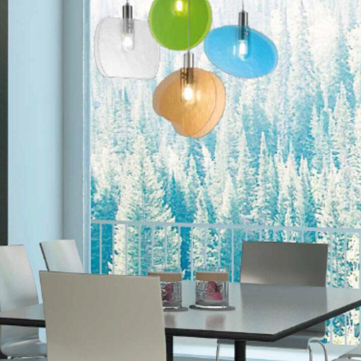 Sospensione Lastra in vetro di Murano doppio - 4 colori e 4 forme
